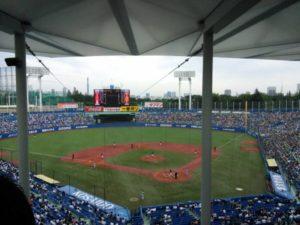 明治神宮野球場のバックネット裏からの眺め