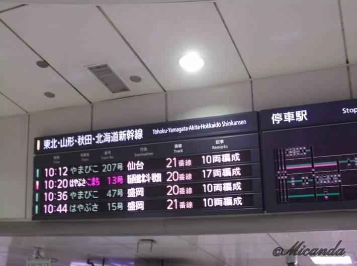 東京駅の北海道行きの新幹線の掲示板