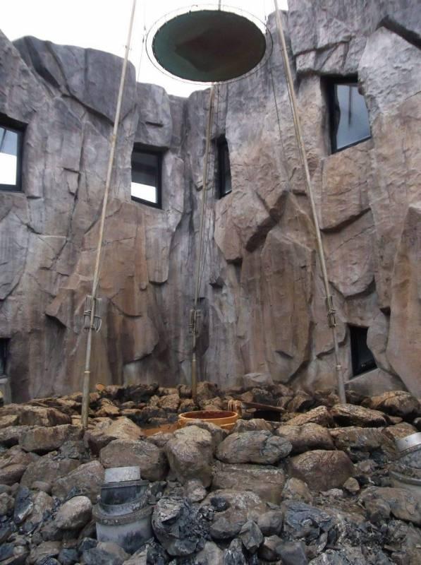 しかべ間歇泉公園の間歇泉の温泉が噴き出る前