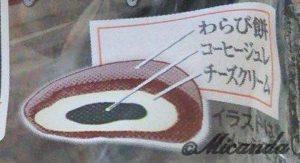 セブンイレブンのふわっとろ てぃらみすわらびの包装に書いてある断面のイラスト
