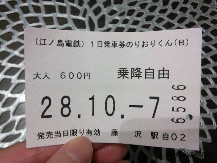 江ノ電の一日乗車券のりおりくん(B)