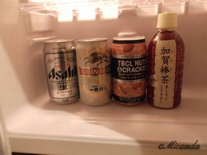 ホテル日航金沢のダブルベッドルームの冷蔵庫の中身