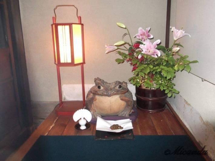 お茶屋『志摩』の廊下にいるカエル